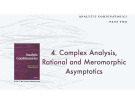 Lecture Analytic combinatorics (Part 2) - Chapter 4: Complex analysis, rational and meromorphic asymptotics