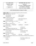 Đề thi kết thúc học phần Vi sinh đại cương (năm học 2014): Đề số 3