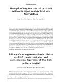 Hiệu quả bổ sung kẽm trên trẻ từ 2-5 tuổi tại khoa hô hấp và tiêu hóa Bệnh viện Nhi Thái Bình