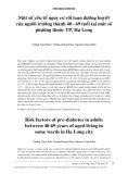 Một số yếu tố nguy cơ rối loạn đường huyết của người trưởng thành 40 - 69 tuổi tại một số phường thuộc TP. Hạ Long