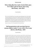 Tiêm chủng đầy đủ và một số yếu tố liên quan ở trẻ dưới 5 tuổi tại huyện Tiên Lãng, Hải Phòng - năm 2010