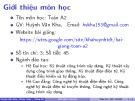 Bài giảng Toán A2: Chương giới thiệu - ThS. Huỳnh Văn Kha