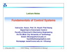 Lecture Fundamentals of control systems: Chapter 6 - TS. Huỳnh Thái Hoàng