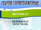 Chapter 5: Inverse functinons – Section 5.7: Hyperbolic functions