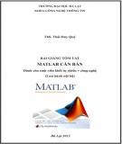 Bài giảng tóm tắt Matlab căn bản (dành cho sinh viên khối tự nhiên - công nghệ): Phần 2