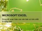 Bài giảng Tin học đại cương: Microsoft Excel