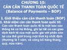 Bài giảng Quan hệ kinh tế quốc tế - Chương 10: Cán cân thanh toán quốc tế