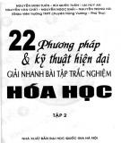 Ebook 22 phương pháp và kỹ thuật hiện đại giải nhanh bài tập trắc nghiệm Hóa học (Tập 2): Phần 1