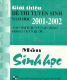 Ebook Giới thiệu đề thi tuyển sinh năm học 2001-2002 môn Sinh học: Phần 1 - Trần Hồng Hải