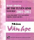 Ôn tập môn Văn học - Giới thiệu đề thi tuyển sinh năm học 2001-2002: Phần 2