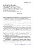 Bước đầu tìm hiểu về sự phân tầng xã hội trong nông thôn hiện nay: Dựa vào những cứ liệu khảo sát ở xã Nam Giang, Nam Ninh, Hà Nam trong 2 năm 1987-1988