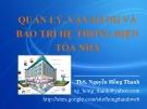 Bài giảng Quản lý, vận hành và bảo trì hệ thống điện tòa nhà - ThS. Nguyễn Hồng Thanh