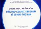 Danh mục phân bón được phép sản xuất, kinh doanh và sử dụng ở Việt Nam (bổ sung lần 1)