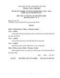 Đề thi tốt nghiệp cao đẳng nghề khóa 5 (2012-2015) - Nghề: Quản trị khách sạn - Môn thi: Lý thuyết chuyên môn nghề - Mã đề thi: QTKS-LT12
