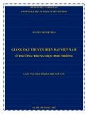 Luận văn Thạc sĩ Khoa học Ngữ văn: Giảng dạy truyện hiện đại Việt Nam ở trường trung học phổ thông
