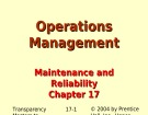 Lecture Operations management - Chapter 17: Maintenance and reliability