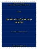 Luận văn Thạc sĩ Khoa học ngữ văn: Đặc điểm văn xuôi nghệ thuật Hồ Dzếnh