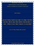 Luận văn Thạc sĩ Khoa học giáo dục: Quản lý hoạt động dạy học của hiệu trưởng trường Trung học Phổ thông Thành phố Cà Mau, tỉnh Cà Mau - Thực trạng và giải pháp