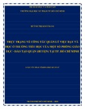 Luận văn Thạc sĩ Khoa học quản lý: Thực trạng về công tác quản lý việc dạy và học ở trường tiểu học của một số Phòng Giáo dục - Đào tạo quận (huyện) tại TP. Hồ Chí Minh