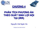 Bài giảng Lập và phân tích dự án: Chương 4 - Nguyễn Hải Ngân Hà