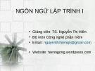 Bài giảng Ngôn ngữ lập trình Java: Java cơ bản - TS. Nguyễn Thị Hiền