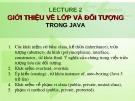 Bài giảng Ngôn ngữ lập trình Java: Giới thiệu về lớp và đối tượng trong java - TS. Nguyễn Thị Hiền
