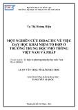 Luận văn Thạc sĩ Giáo dục học: Một nghiên cứu didactic về việc dạy học khái niệm tổ hợp ở trường trung học phổ thông Việt Nam và Pháp