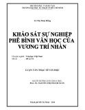 Luận văn Thạc sĩ Văn học: Khảo sát sự nghiệp phê bình Văn học của Vương Trí Nhàn