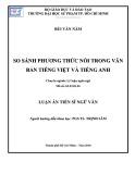 Luận án Tiến sĩ Ngữ văn: So sánh phương thích nối trong văn bản tiếng Việt và tiếng Anh