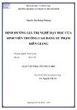 Luận văn Thạc sĩ Tâm lý học: Định hướng giá trị nghề dạy học của sinh viên Trường Cao đẳng Sư phạm Kiên Giang