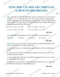 Tổng hợp câu hỏi ARN, phiên mã & dịch mã (ĐH 2008-2016)
