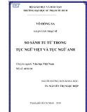 Luận văn Thạc sĩ Văn học Việt Nam: So sánh tu từ trong tục ngữ Việt và tục ngữ Anh
