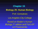 Lecture Biology 25 (Human Biology): Chapter 15 - Prof. Gonsalves