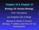 Lecture Biology 25 (Human Biology): Chapter 16, 17 - Prof. Gonsalves