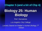 Lecture Biology 25 (Human Biology): Chapter 5 - Prof. Gonsalves
