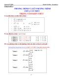 Chuyên đề 4: Phương trình và bât phương trình chứa căn thức