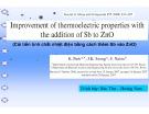 Bài thuyết trình Cải tiến tính chất nhiệt điện bằng cách thêm Sb vào ZnO