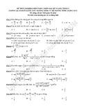 Đề trắc nghiệm môn Toán Phần Đại số và giải tích Chương: I, II
