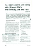 Xác định nhân tố ảnh hưởng đến hiệu quả TTCN truyền thống tỉnh Trà Vinh