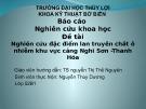 Bài thuyết trình Nghiên cứu đặc điểm lan truyền chất ô nhiễm khu vực cảng Nghi Sơn - Thanh Hóa