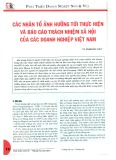 Các nhân tố ảnh hưởng tới thực hiện và báo cáo trách nhiệm xã hội của các doanh nghiệp Việt Nam