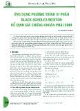 Ứng dụng phương trình vi phân Black - Scholes - Merton để định giá chứng khoán phái sinh