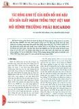 Tác động kinh tế của biến đổi khí hậu đến sản xuất ngành trồng trọt Việt Nam - Mô hình trường phái Ricardo