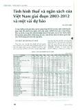 Tình hình thuế và ngân sách của Việt Nam giai đoạn 2003 - 2012 và một vài dự báo