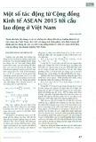 Một số tác động từ Cộng đồng Kinh tế ASEAN 2015 tới cầu lao động ở Việt Nam
