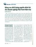 Nâng cao chất lượng nguồn nhân lực cho doanh nghiệp Việt Nam hiện nay