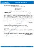 Đề thi tuyển sinh vào lớp 10 môn Ngữ văn - Sở GD&ĐT Sóc Trăng