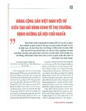 Đảng Cộng sản Việt Nam với sự kiến tạo mô hình kinh tế thị trường định hướng xã hội chủ nghĩa