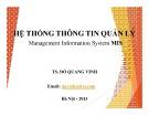 Bài giảng Hệ thống thông tin quản lý (Management Information System MIS)