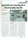 Quản lý nhà nước về hoạt động đầu tư trong nông nghiệp, nông thôn